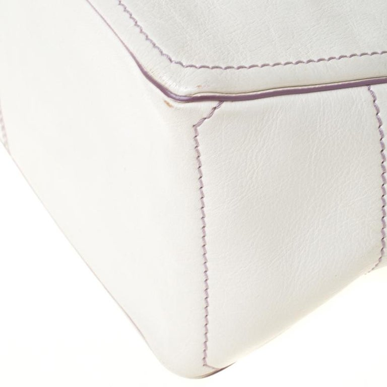 Celine White/Lavender Leather Boogie Tote For Sale 5