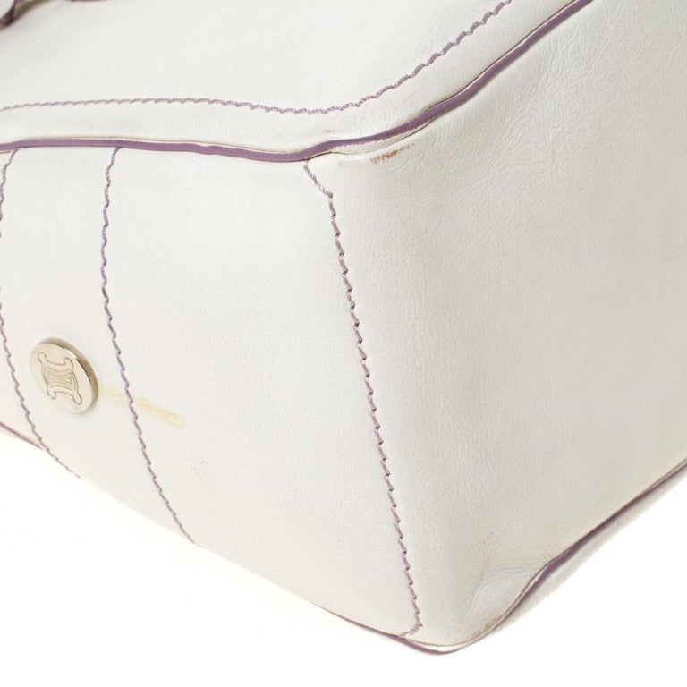 Celine White/Lavender Leather Boogie Tote For Sale 6
