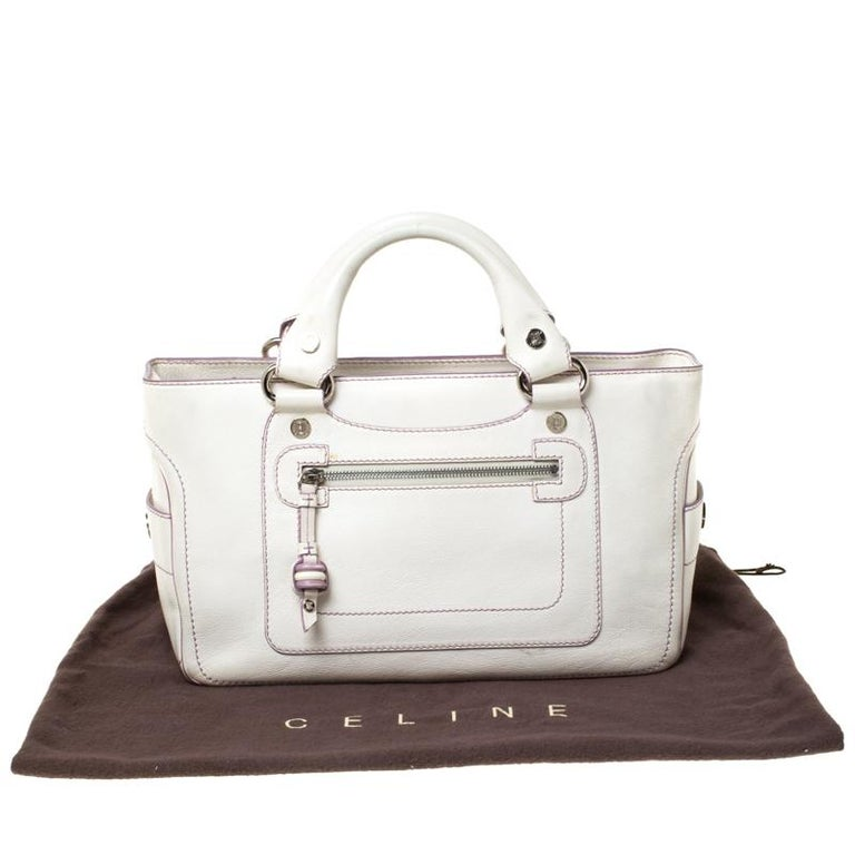 Celine White/Lavender Leather Boogie Tote For Sale 7