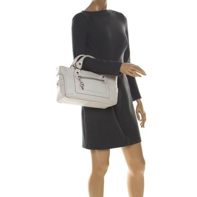 Beige Celine White/Lavender Leather Boogie Tote For Sale