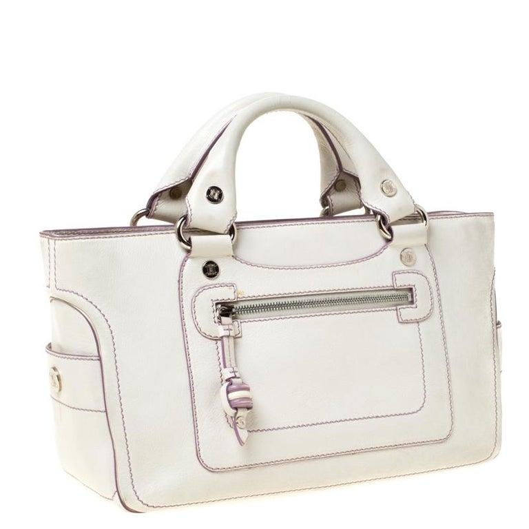 Celine White/Lavender Leather Boogie Tote In Good Condition For Sale In Dubai, Al Qouz 2