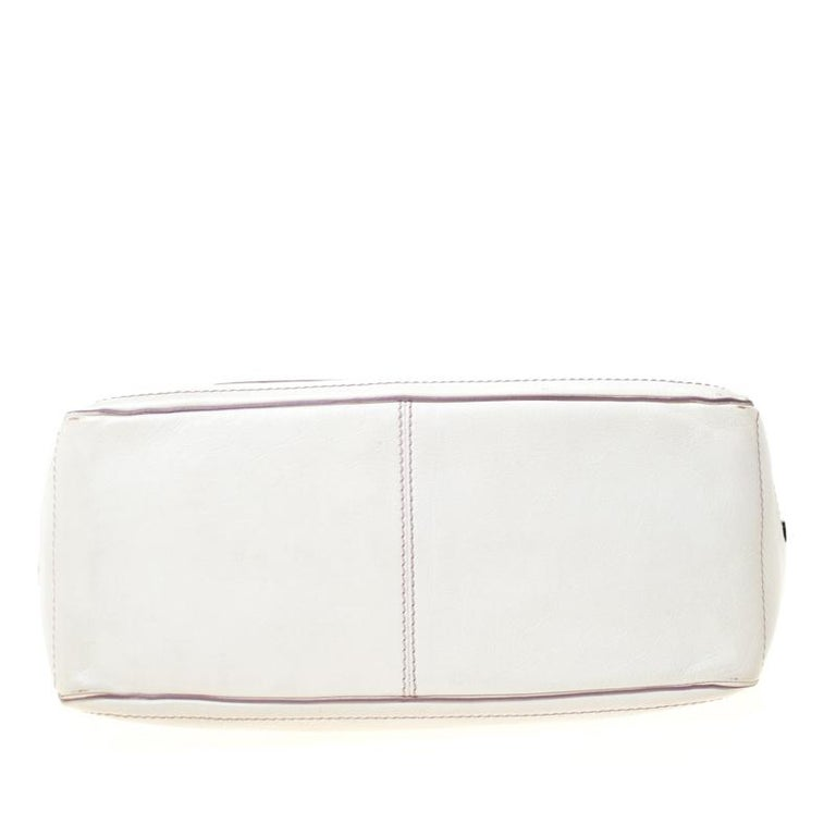Women's Celine White/Lavender Leather Boogie Tote For Sale