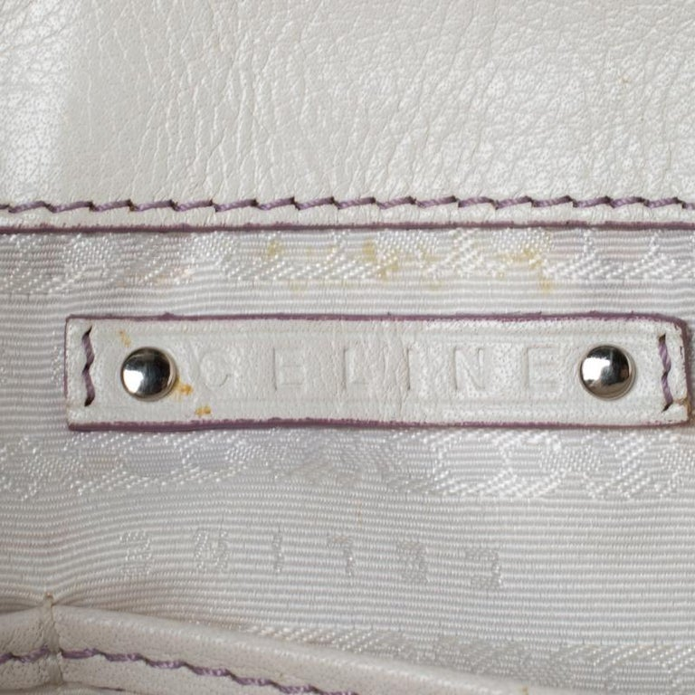 Celine White/Lavender Leather Boogie Tote For Sale 3