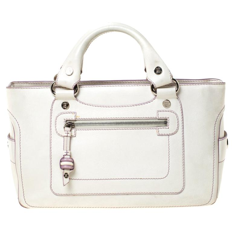 Celine White/Lavender Leather Boogie Tote For Sale