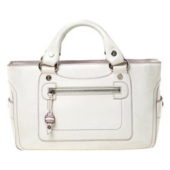 Celine White/Lavender Leather Boogie Tote