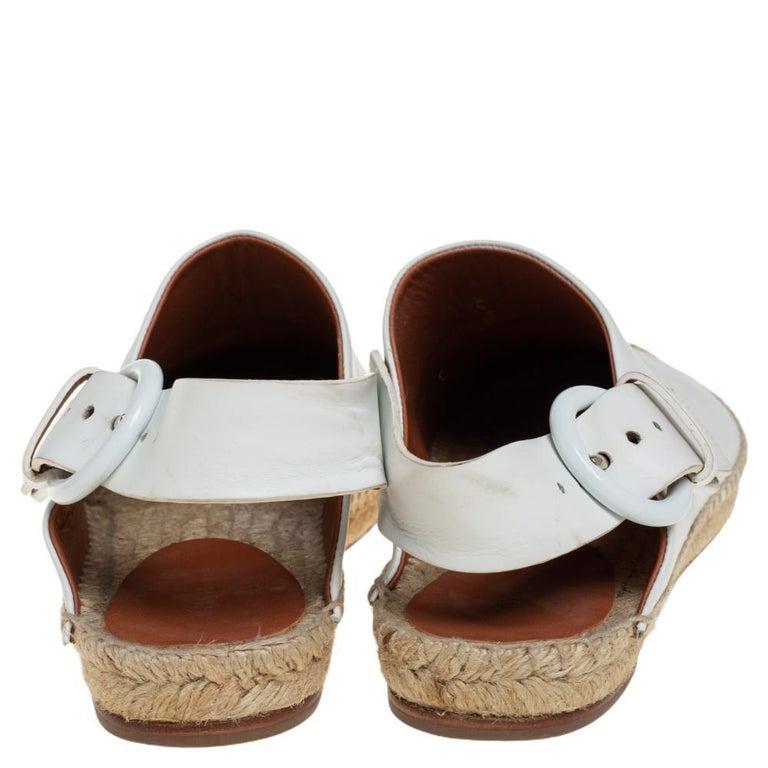 Celine White Leather Espadrille Mules Size 38 In Good Condition For Sale In Dubai, Al Qouz 2