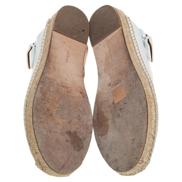 Women's Celine White Leather Espadrille Mules Size 38 For Sale