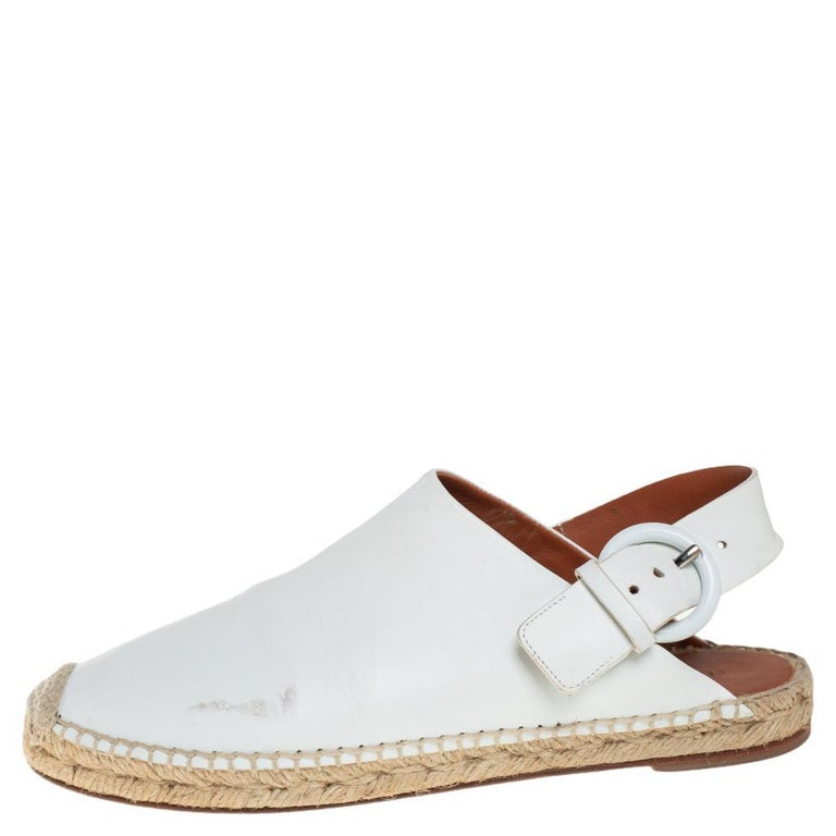 Celine White Leather Espadrille Mules Size 38 For Sale 1