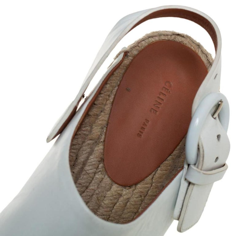 Celine White Leather Espadrille Mules Size 38 For Sale 2