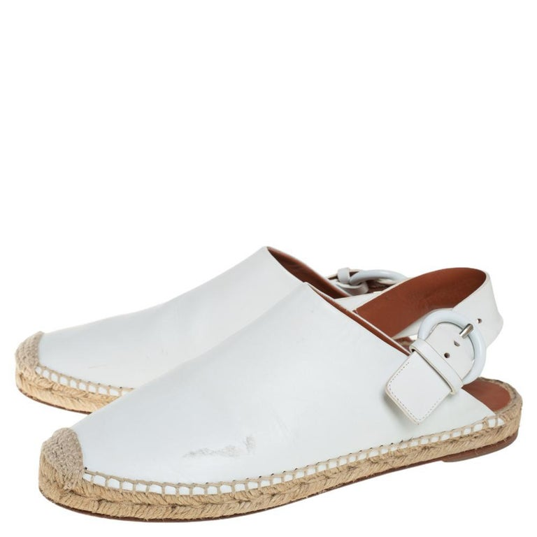 Celine White Leather Espadrille Mules Size 38 For Sale 3