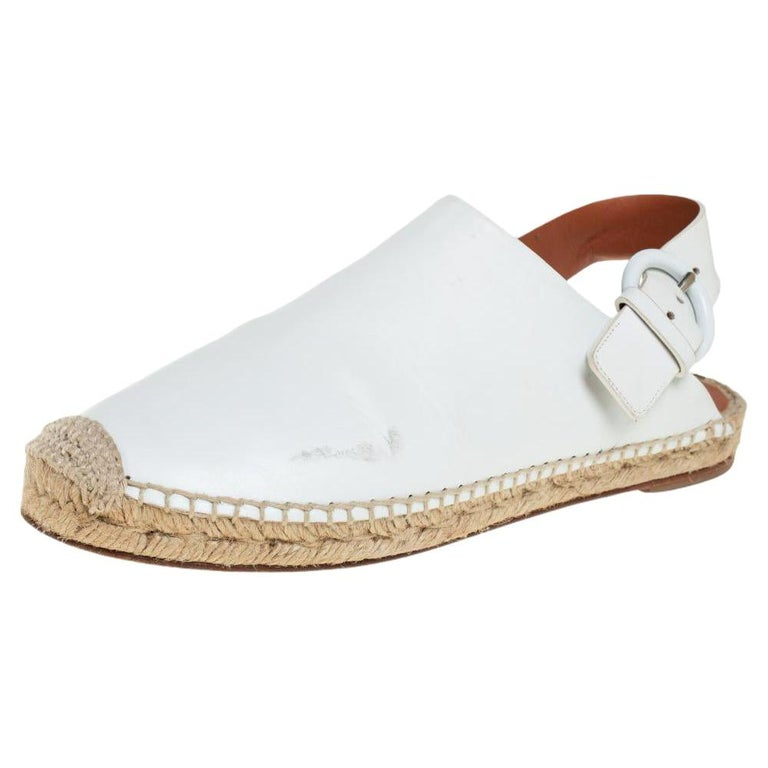 Celine White Leather Espadrille Mules Size 38 For Sale
