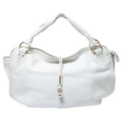 Celine White Leather Large Bittersweet Hobo