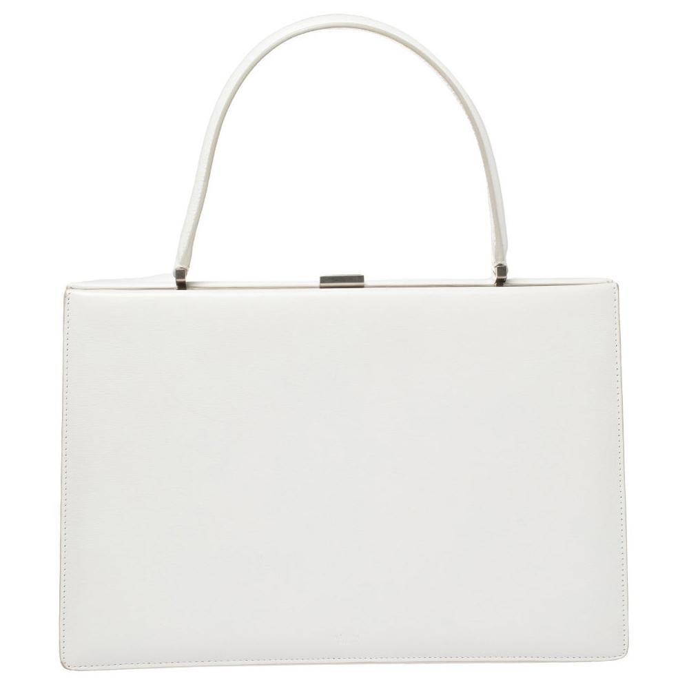 Celine White Leather Medium Clasp Top Handle Bag