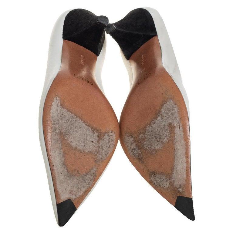 Celine White Leather V-Neck Pointed Toe Pumps Size 38 For Sale 2