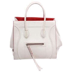 Celine White Red Leather Suede Phantom Luggage Bag