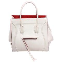 Celine White Red Leather Suede Phantom Luggage Bag