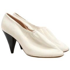 Celine White Soft Leather Ballerina Cone Heel Pumps Size 40