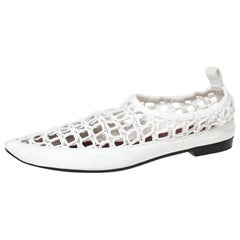 Celine White Woven Rope and Leather Pointed Toe Flats Size 40