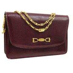 Celine Wine Exotic Lizard Leather Gold Small Evening Envelope Shoulder Flap Bag