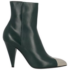 Celine Woman Ankle boots Green Leather IT 39