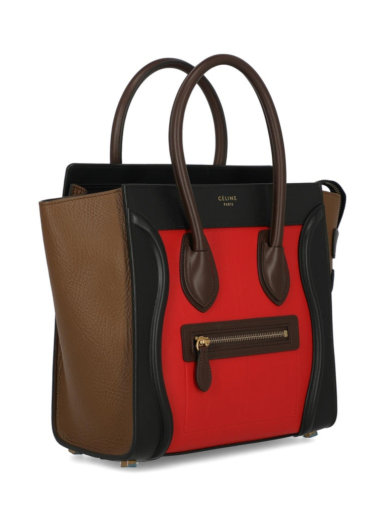 Celine Woman Luggage Black, Brown, Red  In Excellent Condition For Sale In Milan, IT