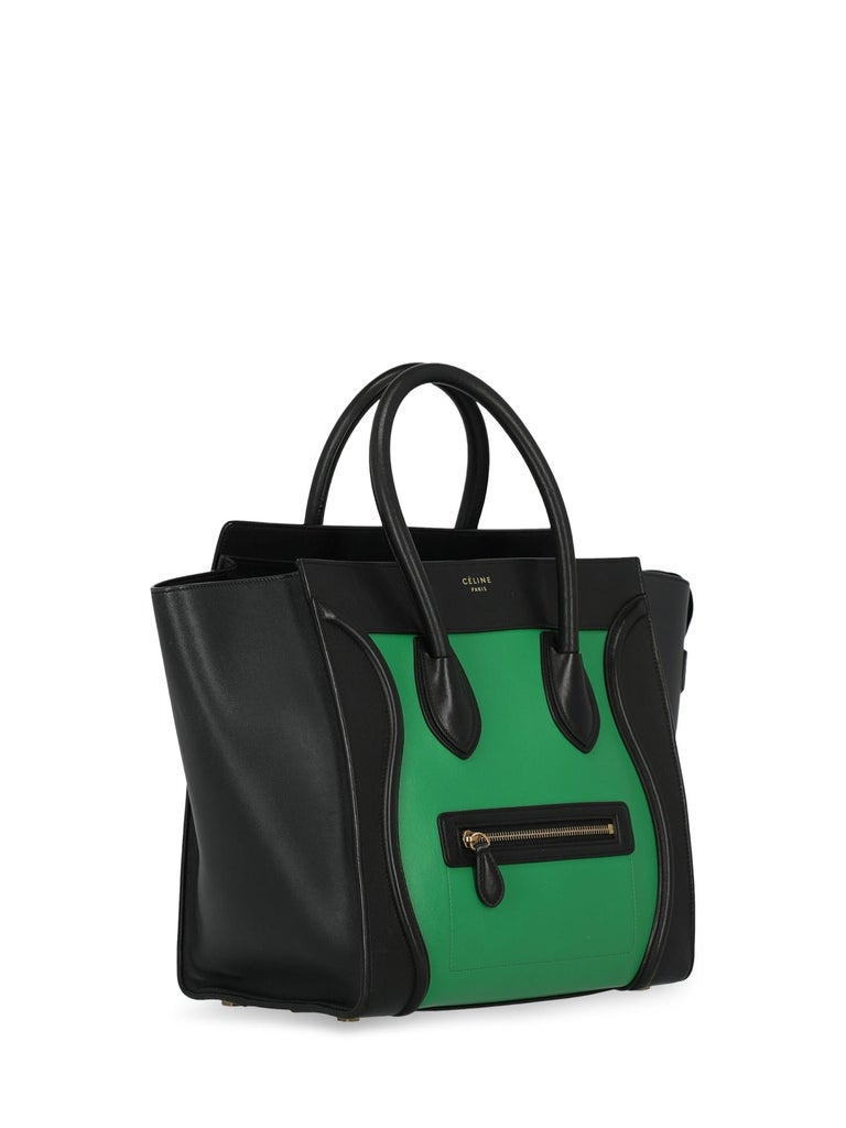 Celine Woman Luggage Black, Green  In Good Condition For Sale In Milan, IT