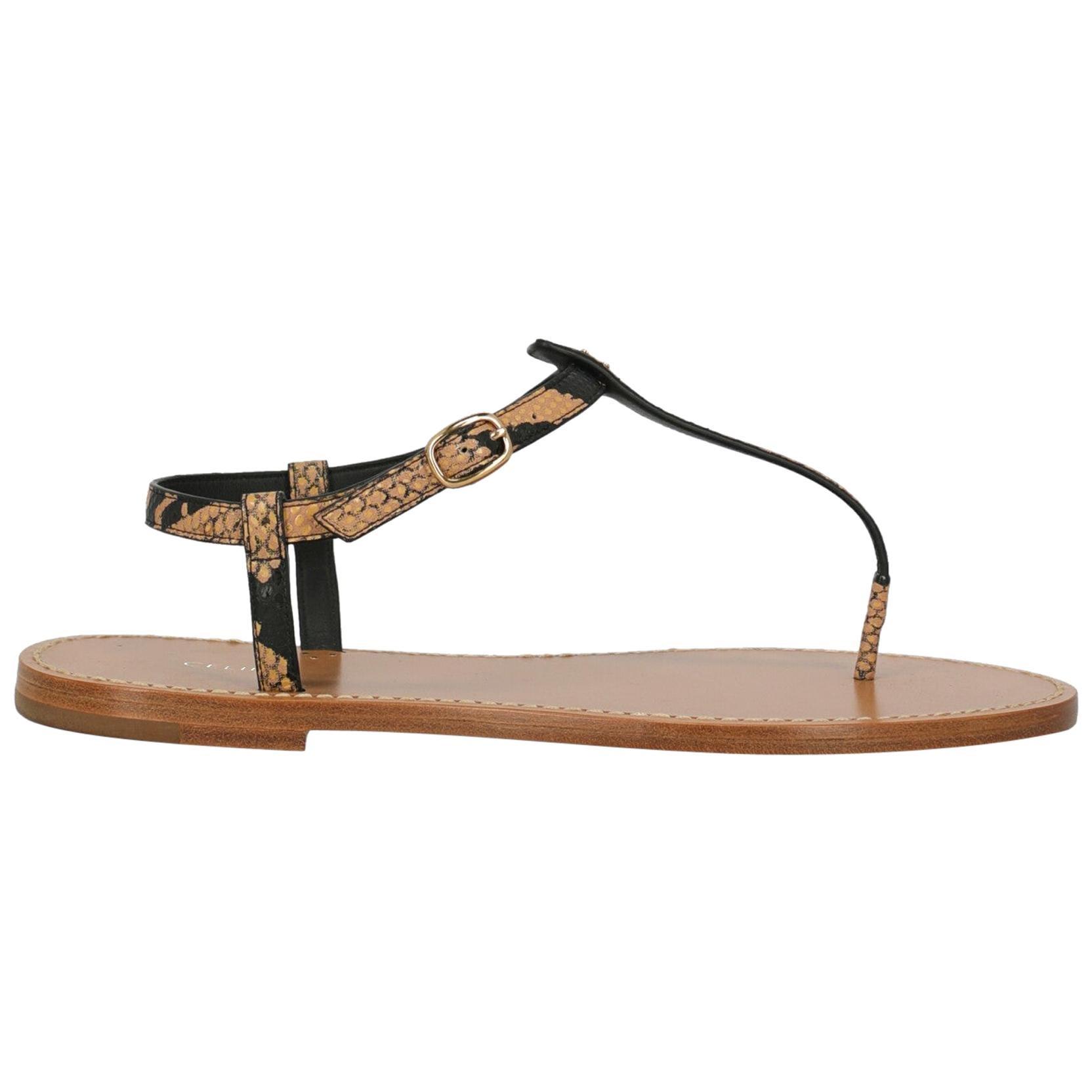 Celine Woman Sandals Beige Leather IT 38