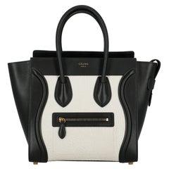 Celine  Women   Handbags  Luggage Black, White Leather