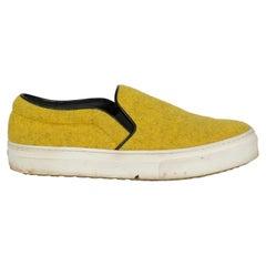 Celine  Women   Sneakers  Yellow Leather, Wool EU 38