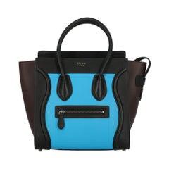 Celine Women's Handbag Luggage Black/Blue/Burgundy Leather