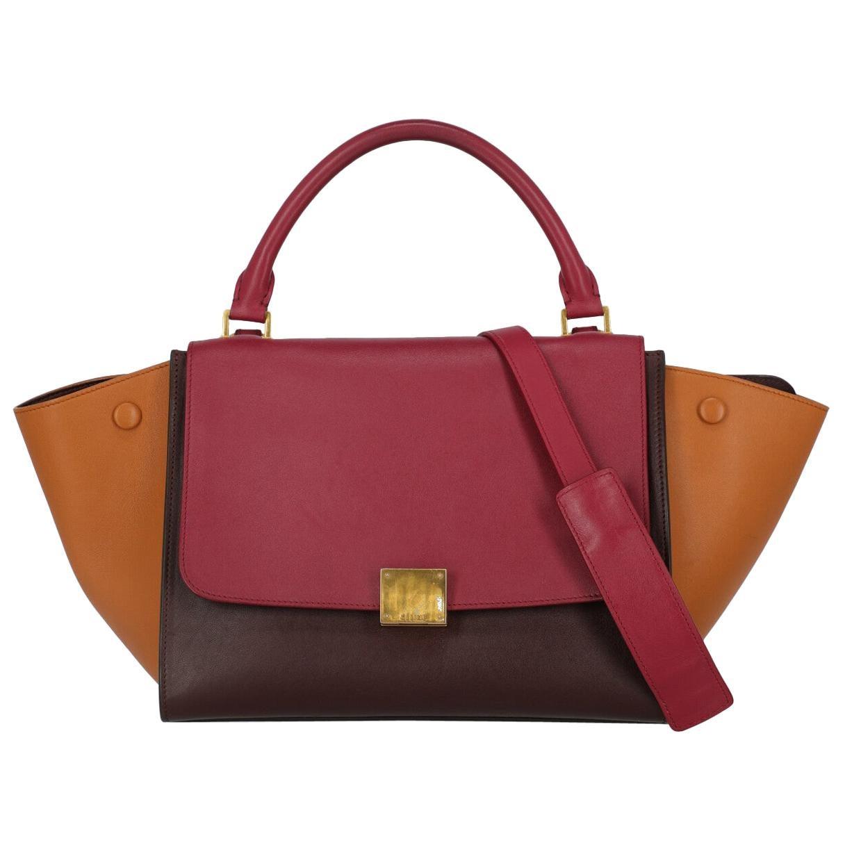 Celine Women's Handbag Trapeze Brown/Burgundy/Red Leather