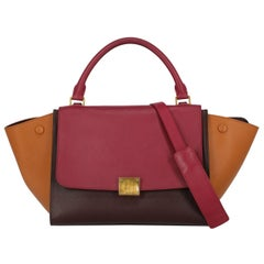 Celine Women's Handbag Trapeze Brown/Burgundy/Red Leather
