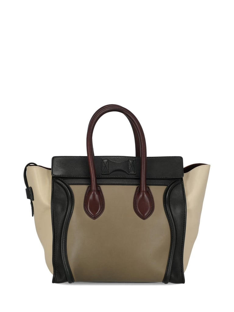 Celine Women's Luggage Black/Burgundy/Ecru Leather For Sale 1