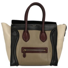 Celine Women's Luggage Black/Burgundy/Ecru Leather