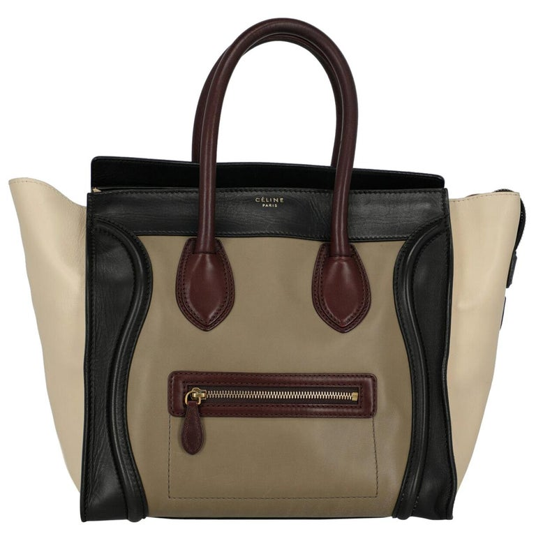 Celine Women's Luggage Black/Burgundy/Ecru Leather For Sale