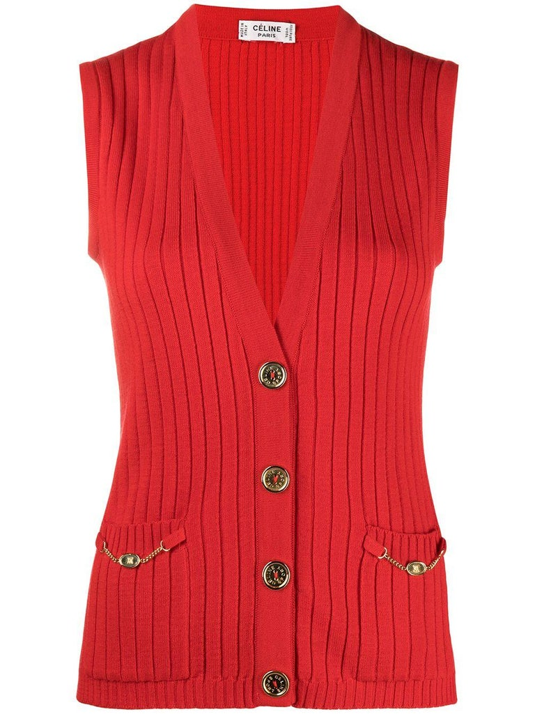 Red Céline Wool Cardigan For Sale