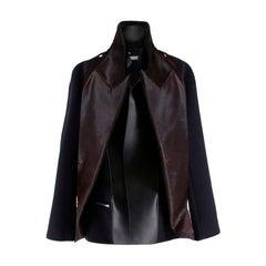 Celine Wool & Cashmere Blend Jacket with Leather & Fur Trim XS 36