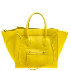Celine Yellow Calfhair and Leather Small Phantom Luggage Tote