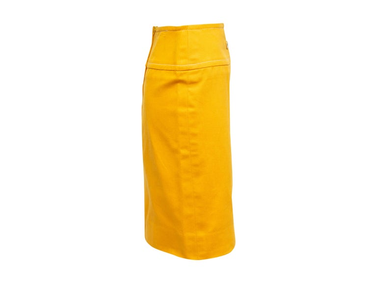 Celine Yellow Denim Pencil Skirt In Good Condition For Sale In New York, NY