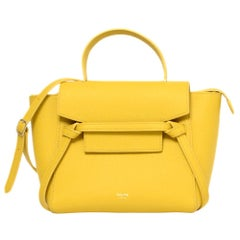 Celine Yellow Grained Calfskin Nano Belt Crossbody Bag