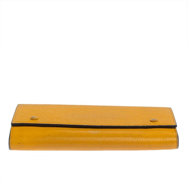 Women's Celine Yellow Leather Large Multifunction Flap Wallet For Sale
