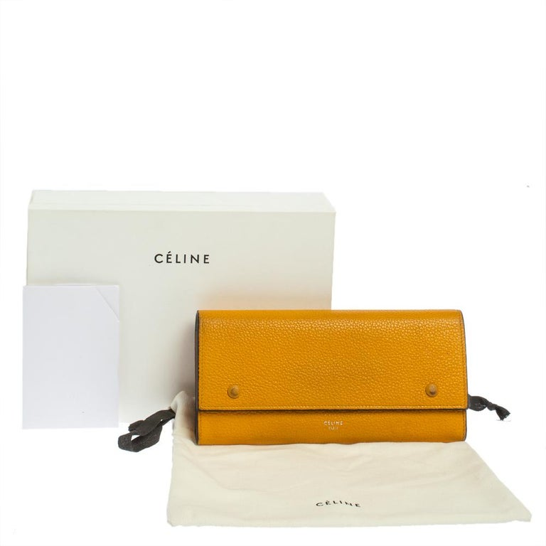 Celine Yellow Leather Large Multifunction Flap Wallet For Sale 4