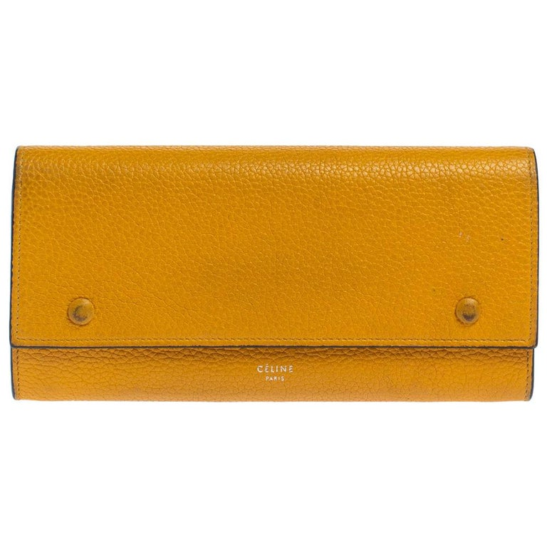 Celine Yellow Leather Large Multifunction Flap Wallet For Sale