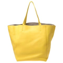 Celine Yellow Leather Medium Cabas Phantom Shopper Tote