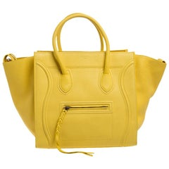 Celine Yellow Leather Medium Phantom Luggage Tote