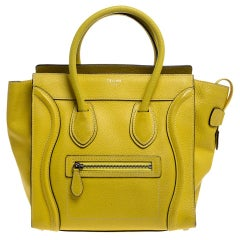 Celine Yellow Leather Micro Luggage Tote