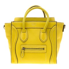 Celine Yellow Leather Nano Luggage Tote