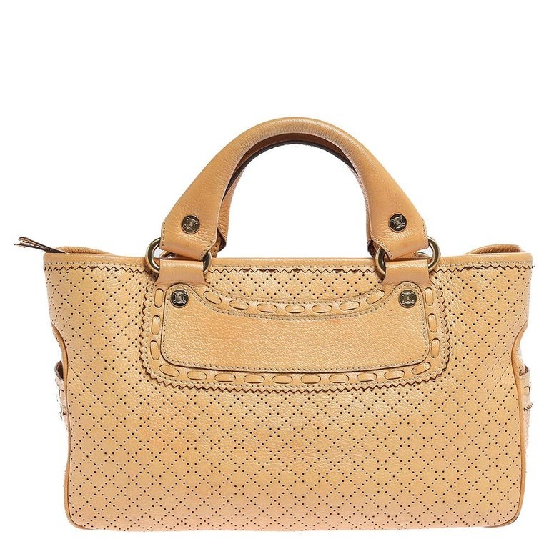 Beige Celine Yellow Perforated Leather Boogie Tote For Sale