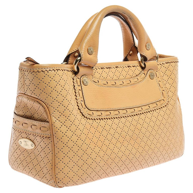 Celine Yellow Perforated Leather Boogie Tote In Good Condition For Sale In Dubai, Al Qouz 2