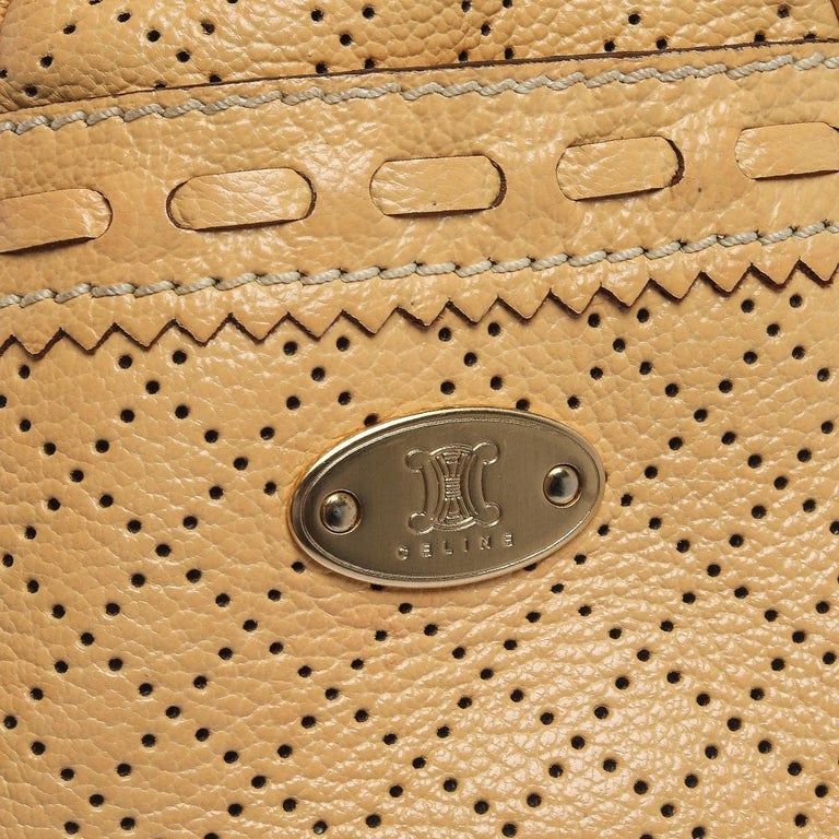 Women's Celine Yellow Perforated Leather Boogie Tote For Sale